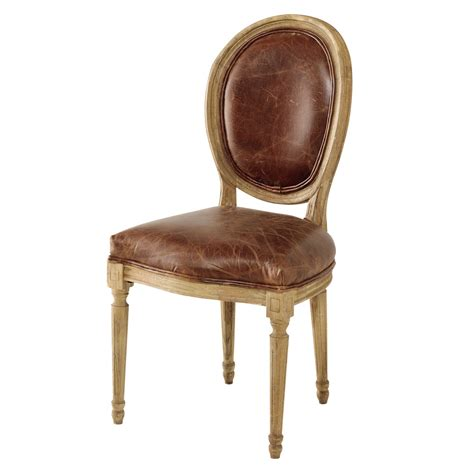 chaise en cuir chaise médaillon en cuir et chêne massif marron louis
