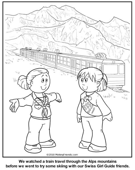 swiss girl guide coloring page switzerland thinking day