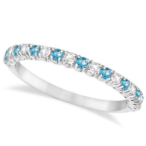blue topaz diamond wedding band anniversary ring