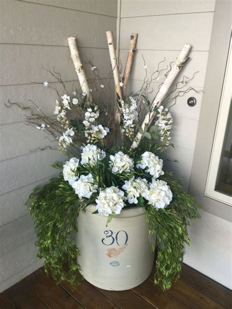Red wing crock front porch decor spring summer - My Sunny