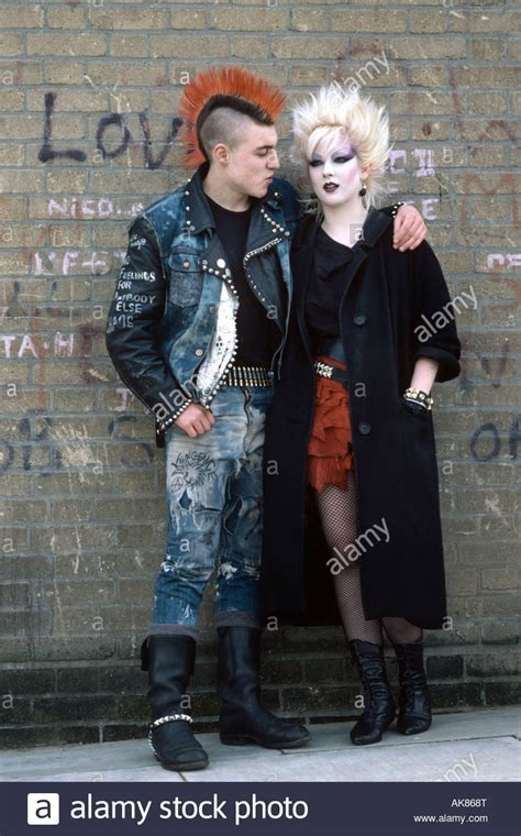 punk rock couple stock photo  alamy