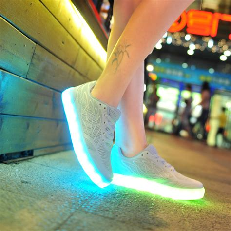 light up soles womens led shoes with light up soles kpu white