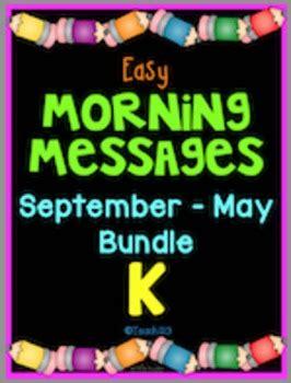 morning messages september  kindergarten  teach