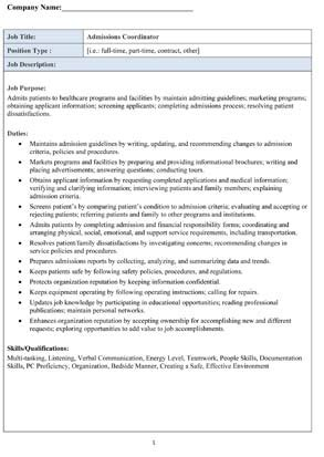 Admissions Coordinator Description by Sle Admissions Coordinator Description Small