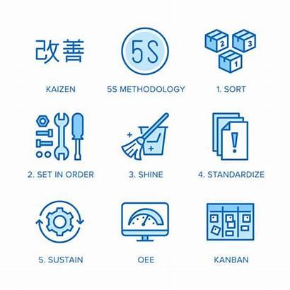 5s Kaizen Methodology Icons Management Line Business