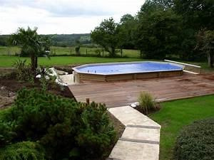 les piscines hors sol enterrees ou semi enterrees With piscine sous terrasse amovible 9 piscine bois avec escalier