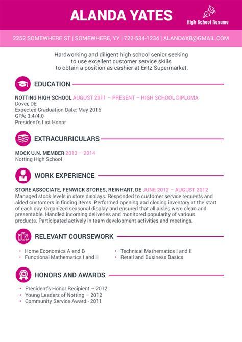 secrets  writing  striking high school senior resume