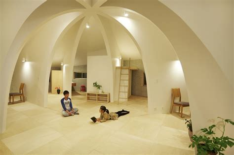 Open Concept Japanese Family Home With Domed Interior
