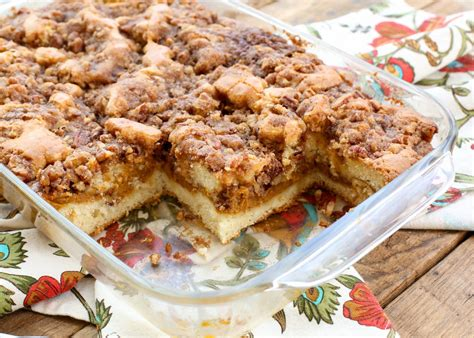 Sweet, delicious coffee cake recipes, with a rich crumble topping, taste great as a morning treat or an afternoon snack. Layered Pumpkin Coffee Cake   barefeetinthekitchen.com