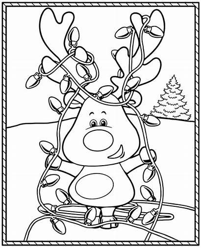 Funny Coloring Clumsy Christmas Raindeer Printable Reindeer