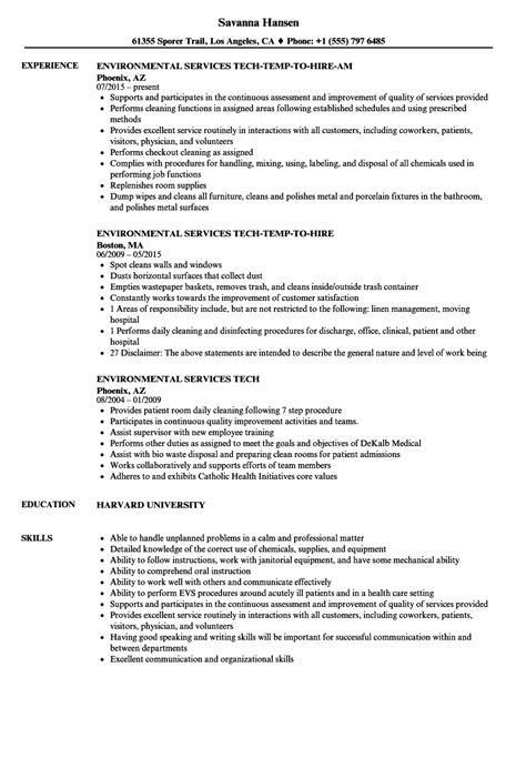 Tech Resume by Environmental Services Tech Resume Sles Velvet