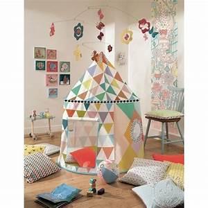 Cabane Enfant Tissu : cabane multicolore tente de jeu djeco ~ Teatrodelosmanantiales.com Idées de Décoration