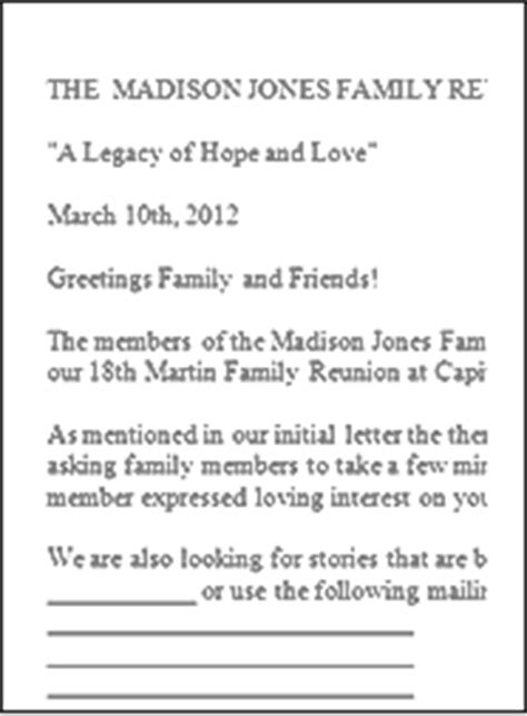 family reunion welcome letter family reunion letter sles