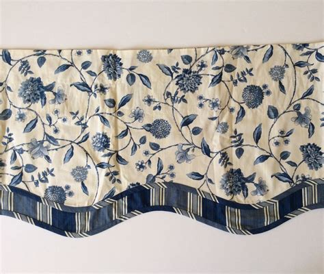 waverly nassau vine blue toile fairfield valance stripe