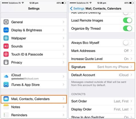 how to change in iphone change iphone mail signature sent from my iphone ios 8 9
