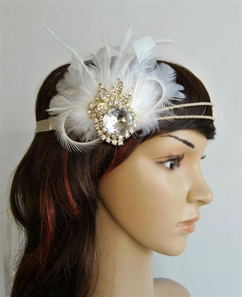 1920s rhinestone head piece bridal ivory chagne