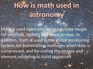Mathematics in astronomy