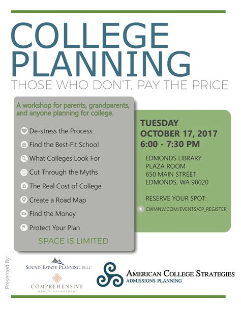 reminder  workshop oct   college planning