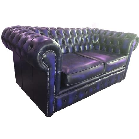 blue chesterfield leather sofa chesterfield antique blue genuine leather two seater sofa