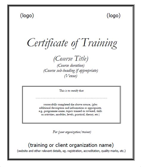 training certificate template  printable receipt template