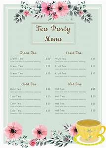 39 menu card templates free sample example format With tea party menu template