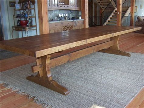 hand hewn trestle table