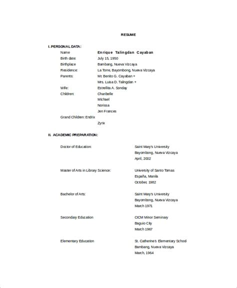 Librarian Resume Sle by Sle Librarian Resume 9 Free Documents In