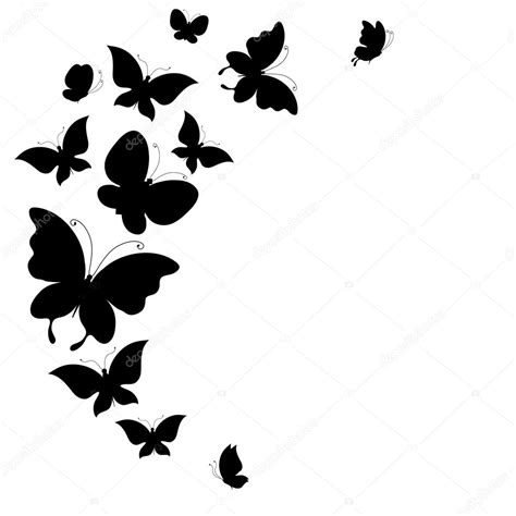 butterfly border black and white background with a border of butterflies flying stock