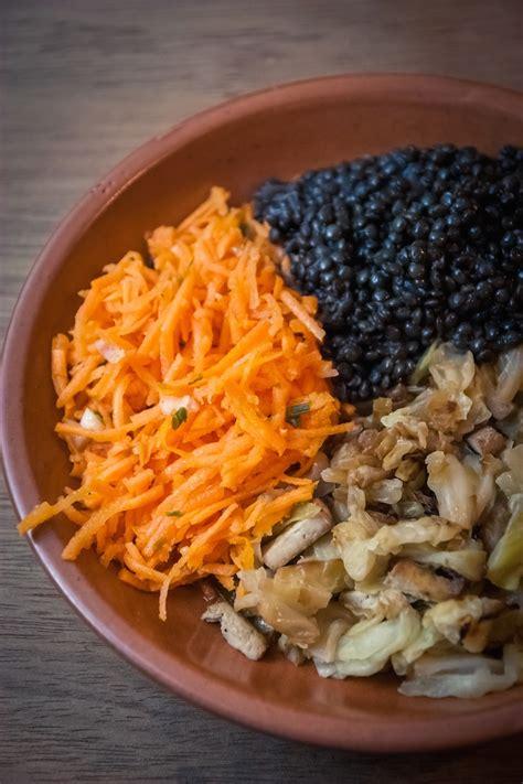 cuisine pour debutant chou au four au tofu fumé lentilles beluga et carottes