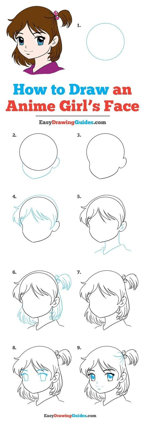 draw  anime girl face  easy drawing