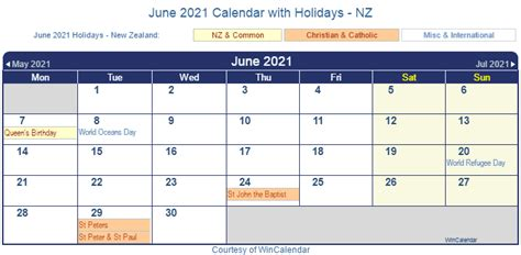 You can get more detailed information on each holiday by clicking on them. Print Friendly June 2021 New Zealand Calendar for printing
