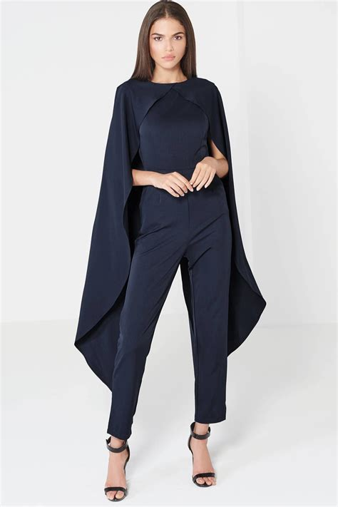 jumpsuit a19549no e blue lyst topshop cape jumpsuit by lavish in blue