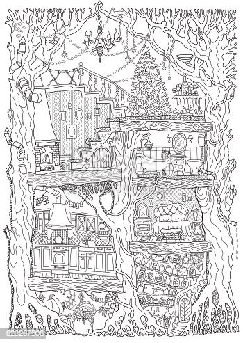 vector hand drawn fantasy  oak tree  fairy tale house black  white sketch teeshirt