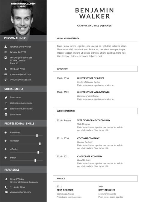 clean resume template free psd freedownloadpsd