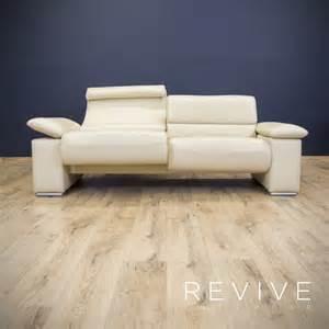 sofa leder beige designer sofa creme beige leder zweisitzer relax funktion weiß modern ebay