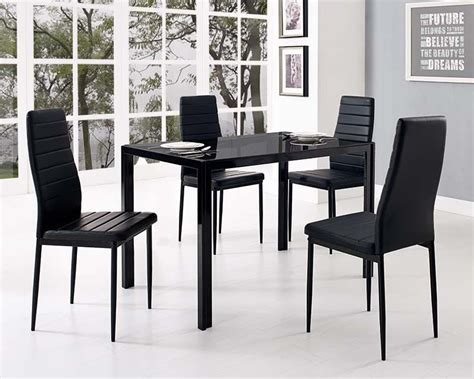 Black Glass Dining Table and with 4 Faux Leather Chairs