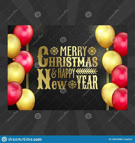 Happy New Year Christmas Card Gold Red Balloons Stock