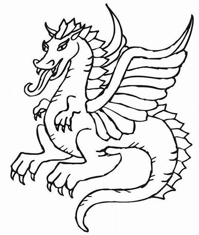 Coloring Dragon Pages Flying Printable Easy Simple