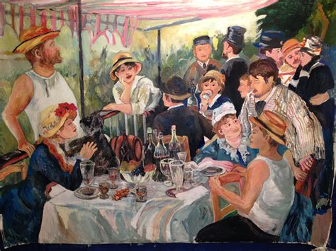 Pierre Auguste Renoir Boating Party by Progress Post 8 Of The Painting Luncheon Of The Boating
