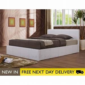 Ottoman white 4ft faux leather storage bed cheapest for Small double bed ottoman storage