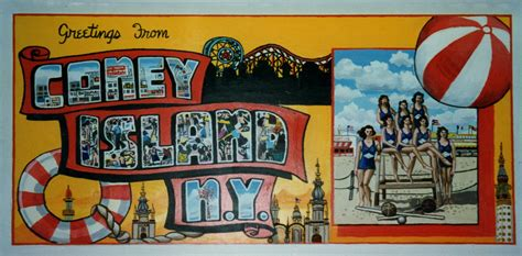 coney island postcards mural  mailbox room  ryder