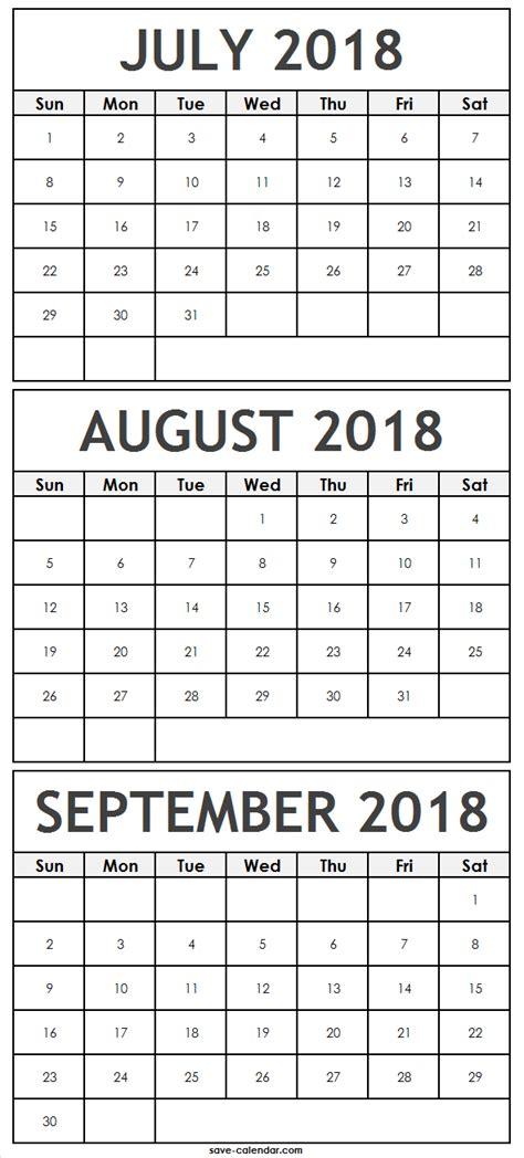 print july august september  calendar  notes