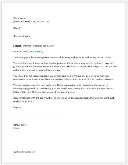 warning letter  negligence  duty word excel templates