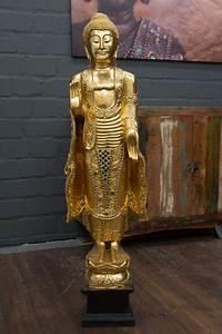 Handtuchhalter Stehend Holz : buddha statue stehend gold gro 115cm holz figur skulptur blattgold thailand neu ebay ~ Whattoseeinmadrid.com Haus und Dekorationen