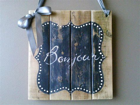 Bonjour Welcome Sign French Country Wooden Sign Cottage ...