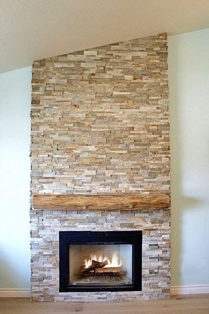 stacked stone fireplaces ideas  pinterest