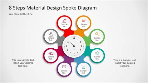 steps material design spoke diagram powerpoint template