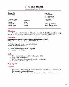 mechanical engineer cv format With sample resume for fresher mechanical engineering student