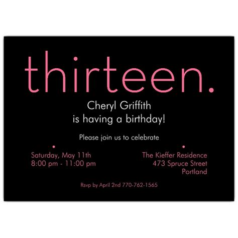 thirteen pink  black  birthday invitations paperstyle