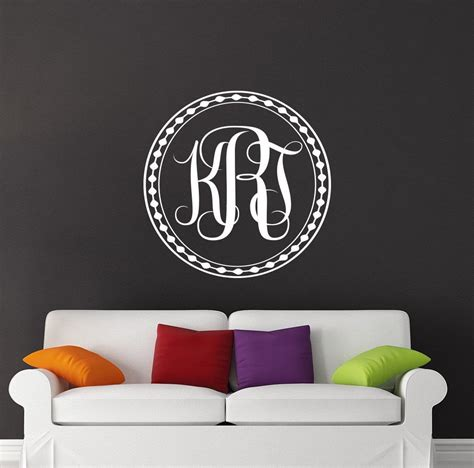 monogram wall decals family  sticker vinyl letter custom etsy monogram wall decals